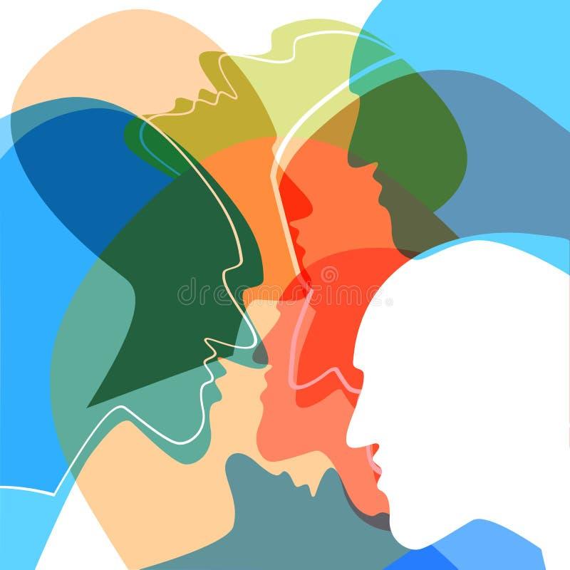 Głów ludzie pojęć, symbol komunikacja między ludźmi ilustracji