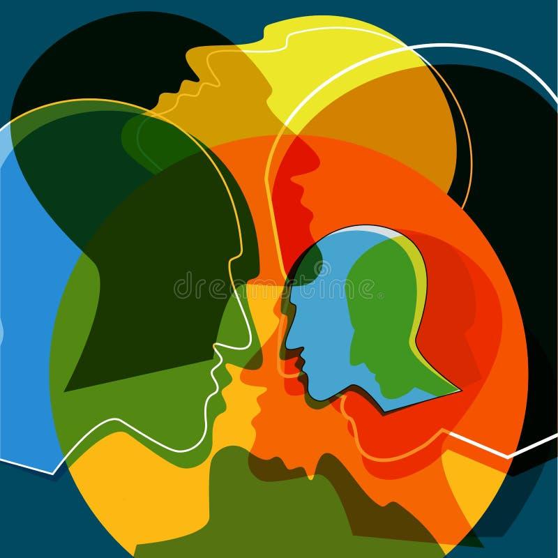 Głów ludzie pojęć, symbol komunikacja między ludźmi royalty ilustracja