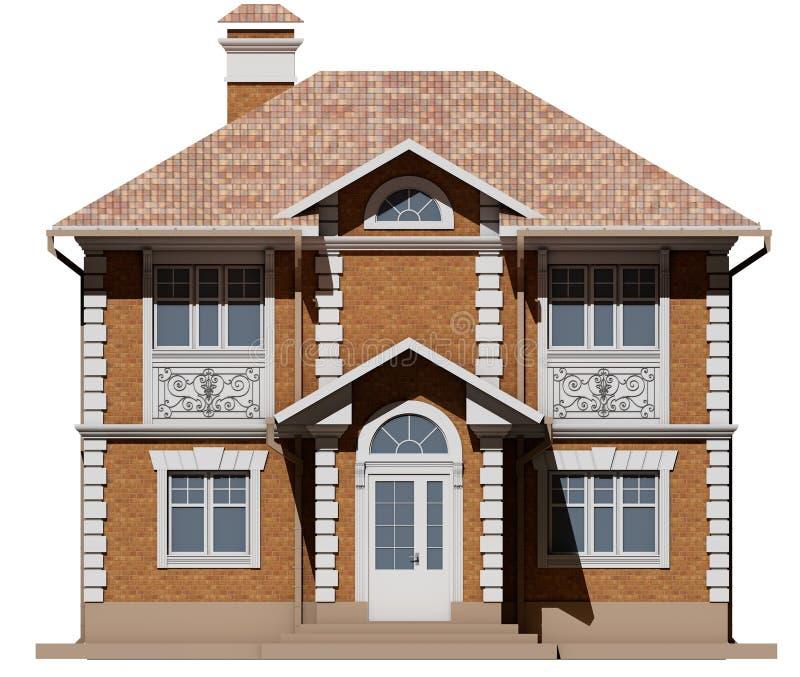 Główna fasada ceglana chałupa jest symetrią świadczenia 3 d ilustracja wektor