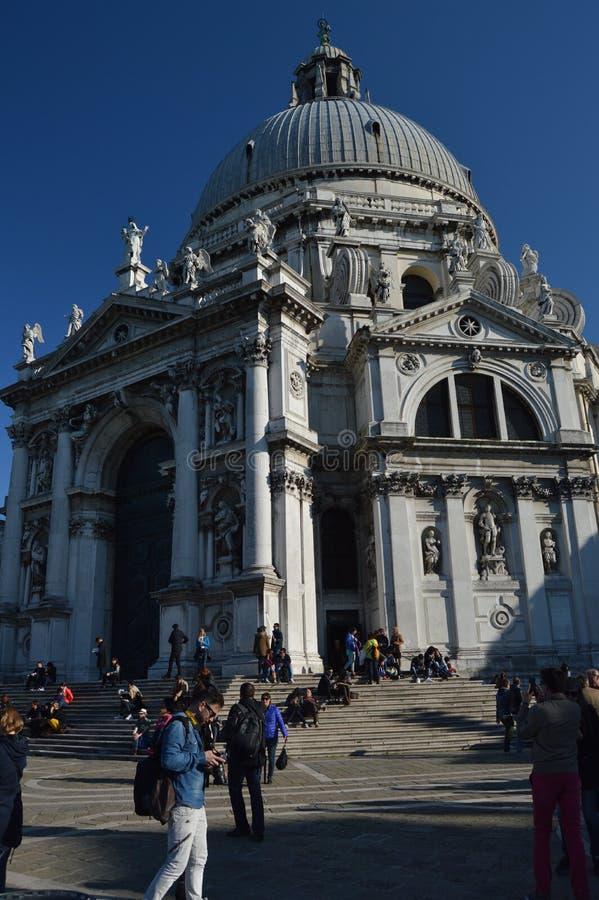 Główna fasada kościół Santa Maria Della salut W Wenecja Podróż, wakacje, architektura Marzec 28, 2015 Wenecja, Veneto obraz stock