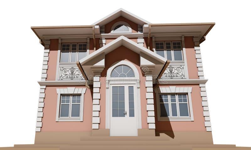 Główna fasada mieszkaniowy, różowy i symetryczny dom, 3 d czynią ilustracji