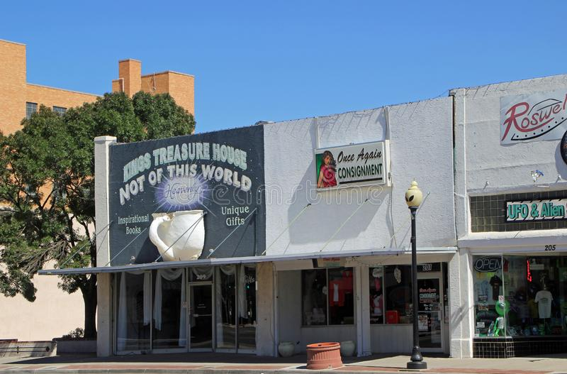 Główna Ulica w Roswell z Obcymi prezentów sklepami zdjęcia stock