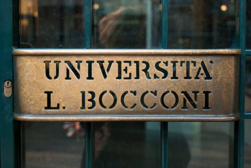 Główne wejście Bocconi ekonomii biznesowy uniwersytet Mediolan w północy Włochy fotografia stock