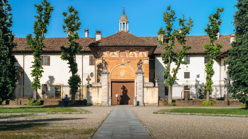Główne wejście Certosa di Pavia monaster, budujący Carthusians w 1396-1495 Renomowany dla wybujania swój architectur obraz royalty free