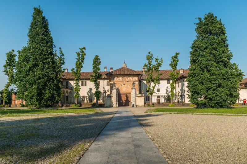 Główne wejście Certosa di Pavia monaster, budujący Carthusians w 1396-1495 Renomowany dla wybujania swój architectur fotografia royalty free