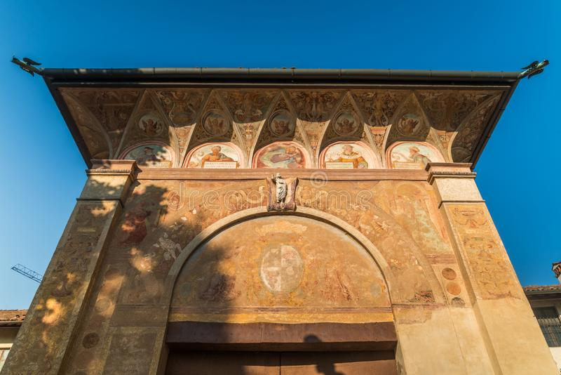 Główne wejście Certosa di Pavia monaster, budujący Carthusians w 1396-1495 Renomowany dla wybujania swój architectur zdjęcie royalty free