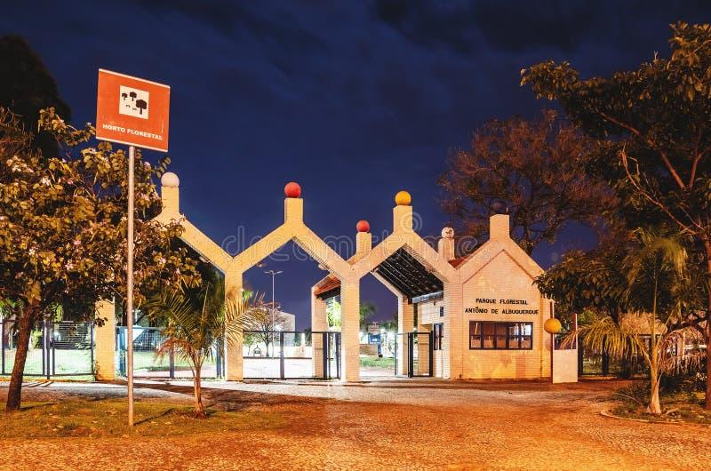 Główne wejście Horto Florestal, Campo Grande MS, Brazylia zdjęcie stock