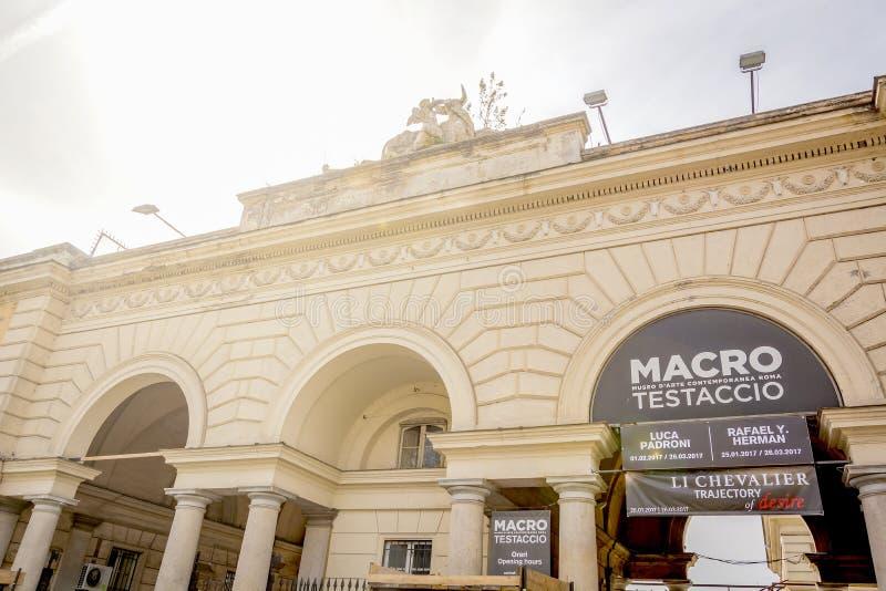 Główne wejście MAKRO- muzeum, muzeum dzisiejsza ustawa w Rzym, budował wśrodku starej rzeźni zdjęcia royalty free