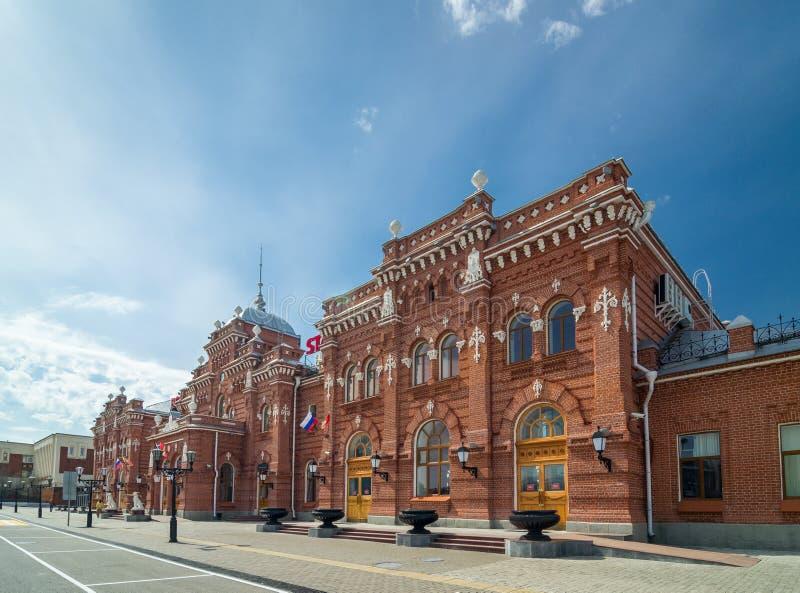 Głównego budynku fasada stacja kolejowa w Kazan, Rosja obraz stock