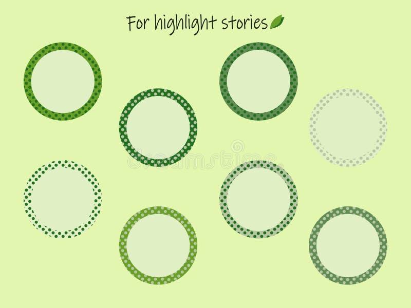 Głównej atrakcji opowieści ikony z zielonymi grochami dla inskrypcji ilustracja wektor