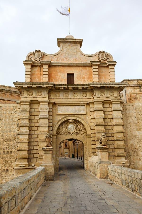 Głównej Bramy miasta dostęp Mdina zdjęcie stock