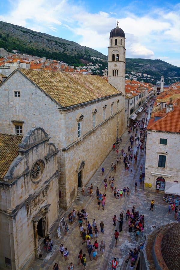 Głównej Ulicy scena, Dubrovnik obrazy royalty free