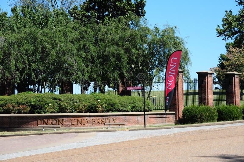 Główny kampusu wejście Zrzeszeniowy uniwersytet w Jackson, Tennessee zdjęcia stock