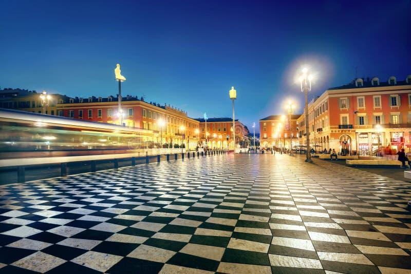 Główny miasto kwadrat miejsce Massena w starym miasteczku Ładny przy nocą t obrazy royalty free