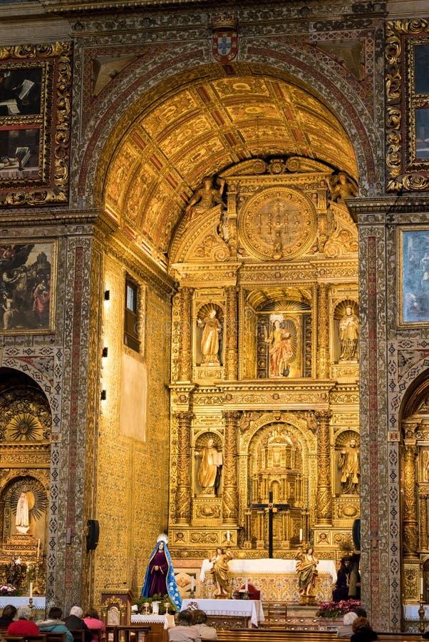 Główny ołtarz w katedrze w Funchal Madiera zdjęcia stock