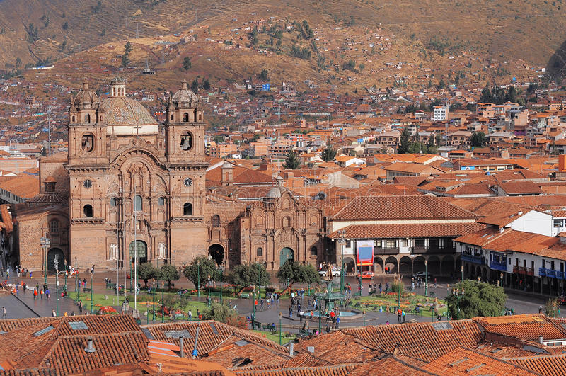 Główny plac W Cuzco, Plac De Armas obraz stock