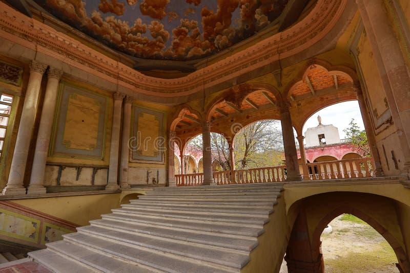 Główny schody jaral De Berrio hacjendy Mexico zdjęcia royalty free