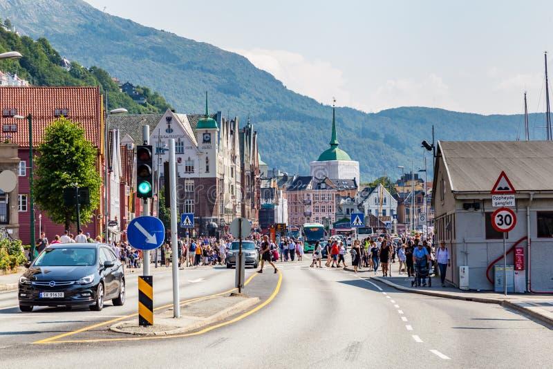 Główny steet w centrum Bergen w Norwegia obraz stock