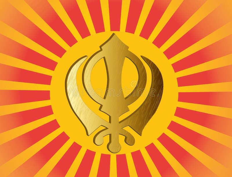 Główny symbol Sikhism - znak Khanda royalty ilustracja