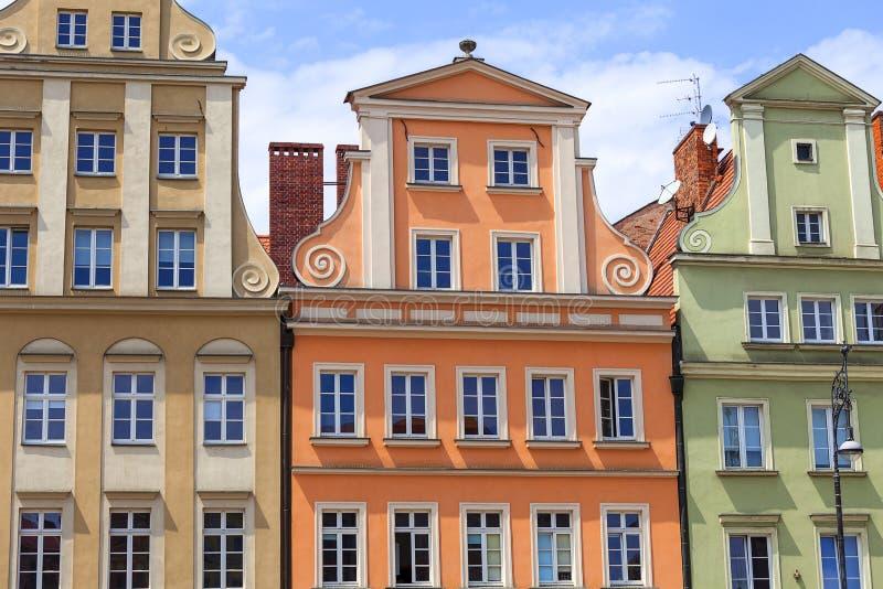 Główny targowy kwadrat, kolorowi tenement domy, Niski Silesia, Wrocławski, Polska zdjęcia stock