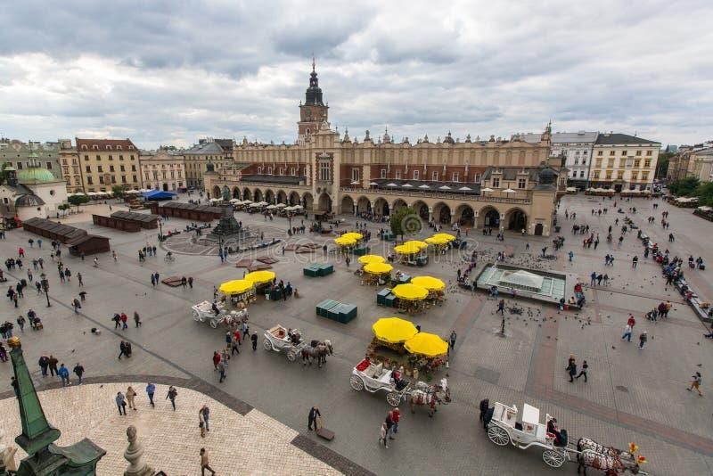 Główny Targowy kwadrat krakow Poland obraz stock
