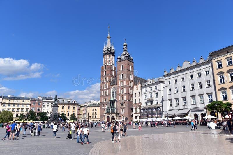 Główny Targowy kwadrat w Krakow zdjęcia royalty free