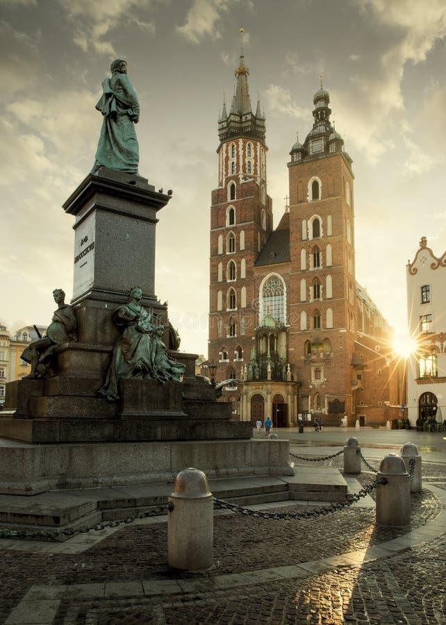Główny targowy kwadrat w Krakow starym miasteczku, Polska zdjęcie stock