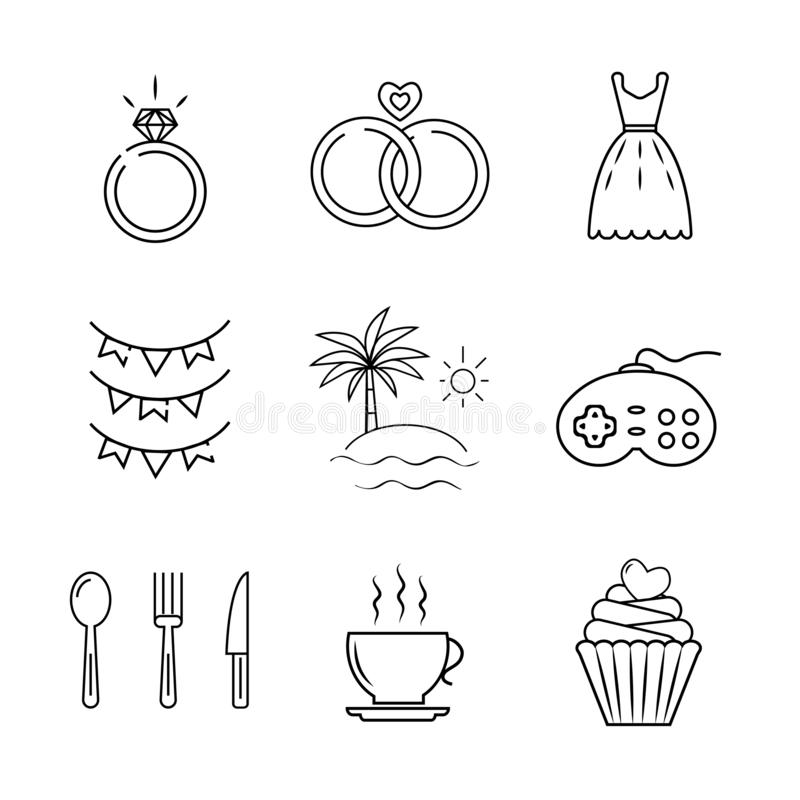 głównych atrakcji pokryw ikony ilustracji