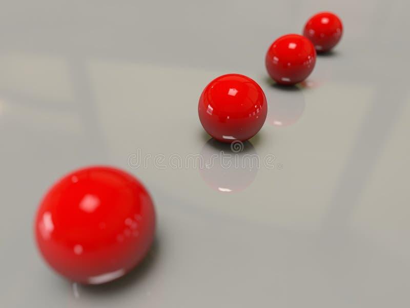 Głębia pola cztery czerwone olśniewające glansowane piłki wykładający perspektywiczny studio zaświeca cienia białego odbicie wzie ilustracji