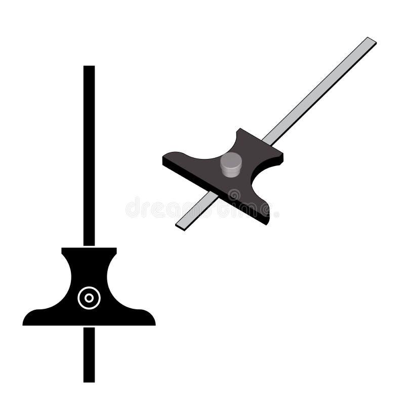Głębii Gage pomiaru narzędzie 3d skutek i sylwetka wektor ilustracja wektor