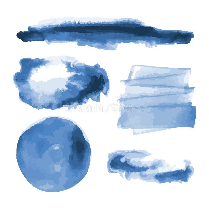 Głęboka błękitna akwarela kształtuje, splotches, plamy, farby muśnięcia uderzenia Abstrakcjonistyczni akwareli tekstury tła ustaw ilustracja wektor