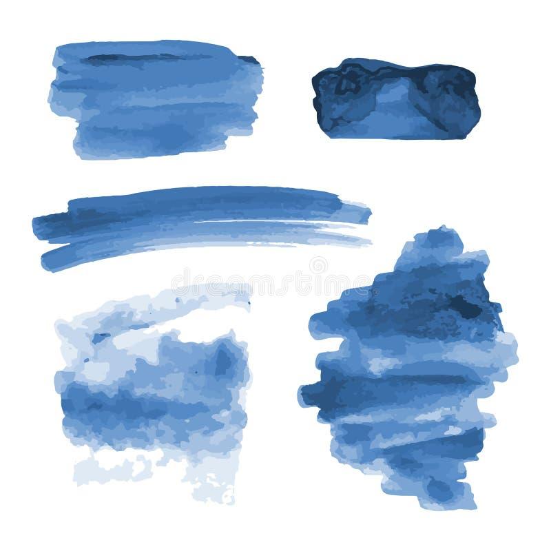 Głęboka błękitna akwarela kształtuje, splotches, plamy, farby muśnięcia uderzenia Abstrakcjonistyczni akwareli tekstury tła ustaw royalty ilustracja
