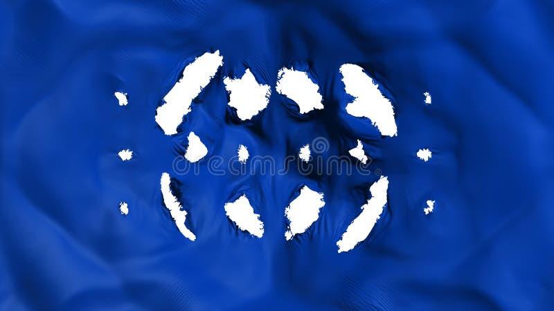 Głęboka błękitna kolor flaga z małe dziury royalty ilustracja