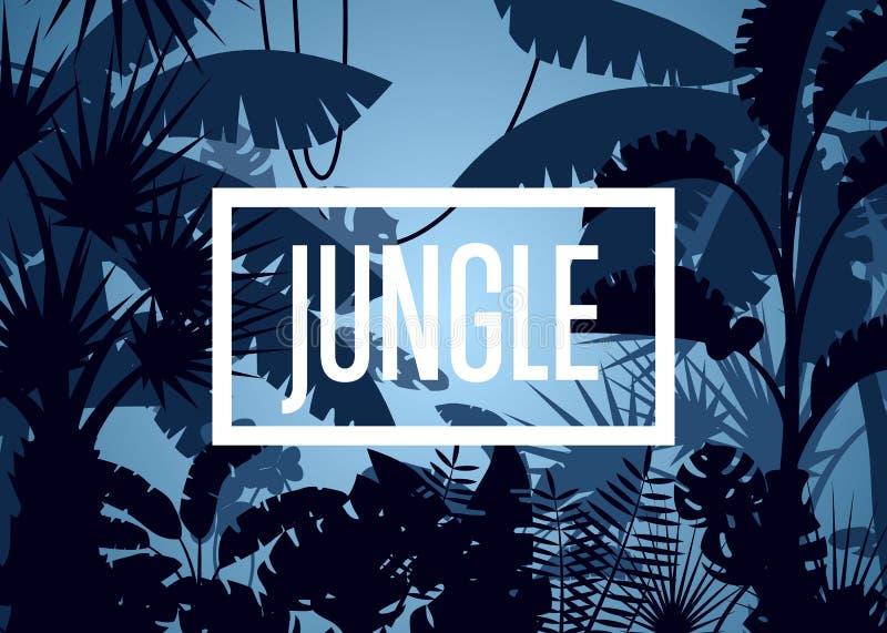 Głęboka tropikalna dżungla z palm drzewami i liśćmi royalty ilustracja