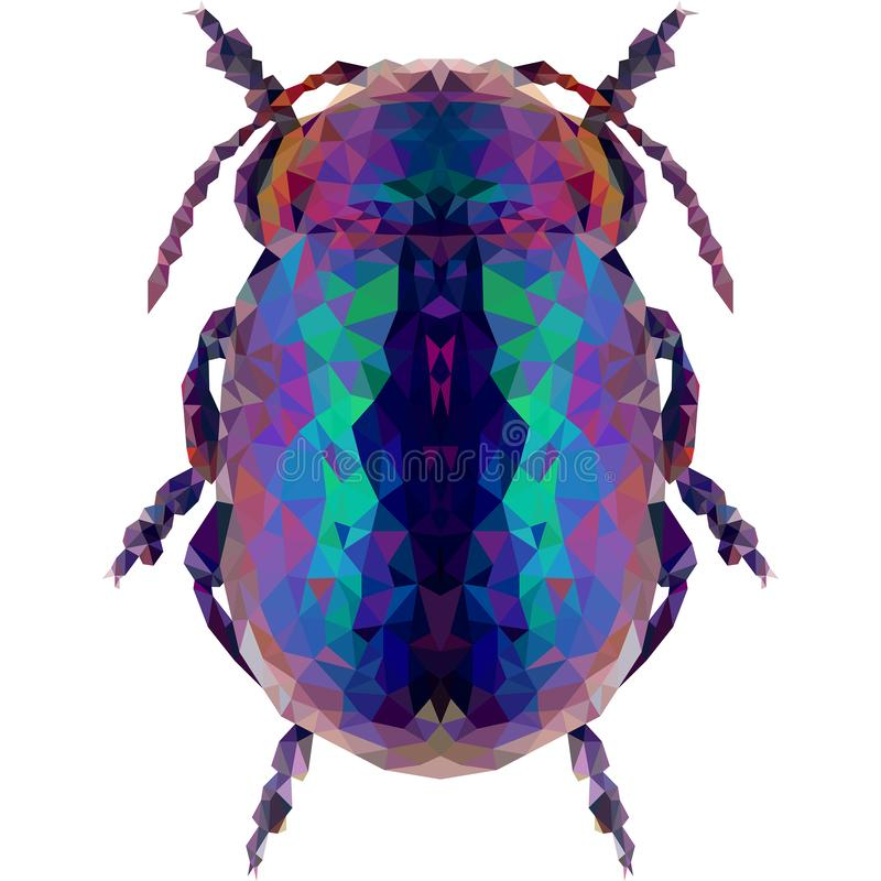 Głęboki błękitny geometryczny ściga insekt na białym tle royalty ilustracja