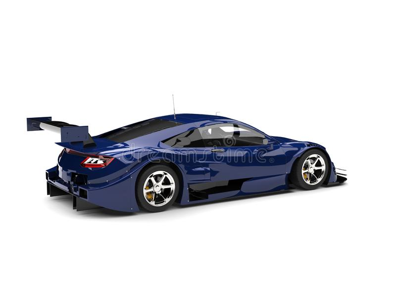 Głęboki błękitny nowożytny super samochód wyścigowy - tylni boczny widok ilustracja wektor