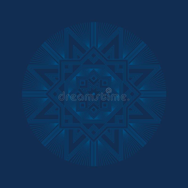 Głęboki błękitny wyszukany płatek śniegu royalty ilustracja