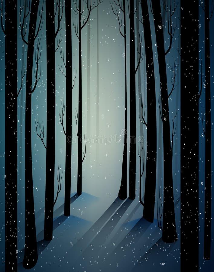 Głęboki czarodziejski mroźny zima las z tajemnicy światłem, cienie, ponury zima las, okaleczający zimni mroźni drewna, ilustracja wektor