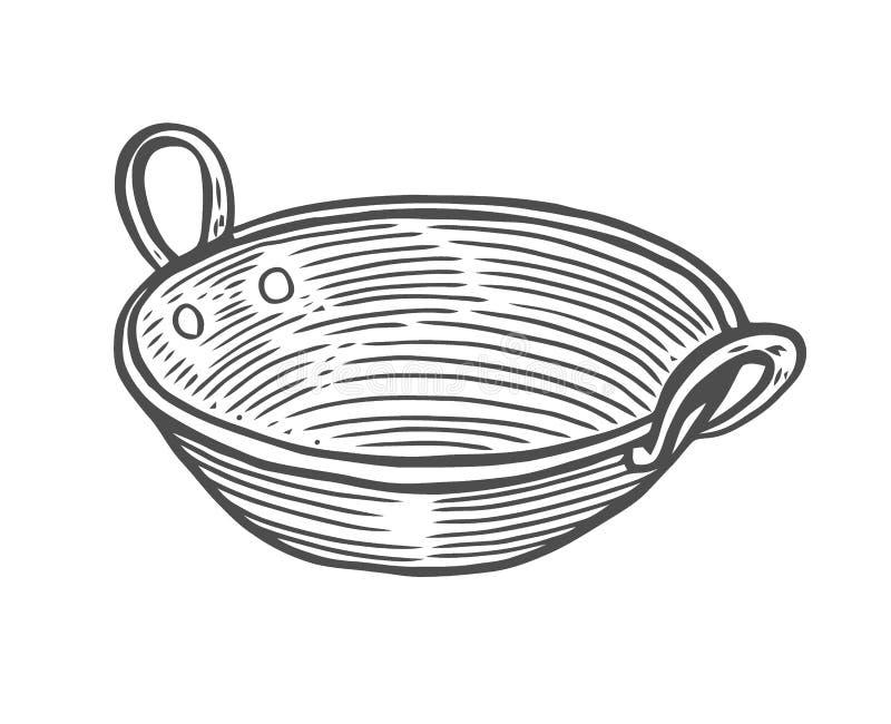Głęboki miedziany talerz ilustracji