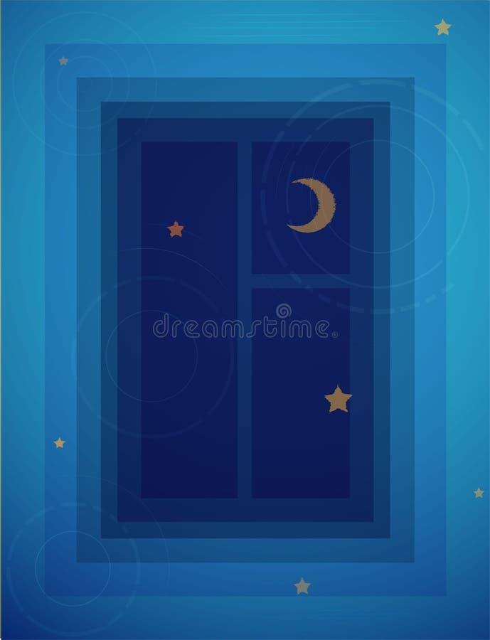 Głęboki nur noc sen pojęcie, odbicie nadokienna noc z księżyc i gwiazda w wodzie, royalty ilustracja