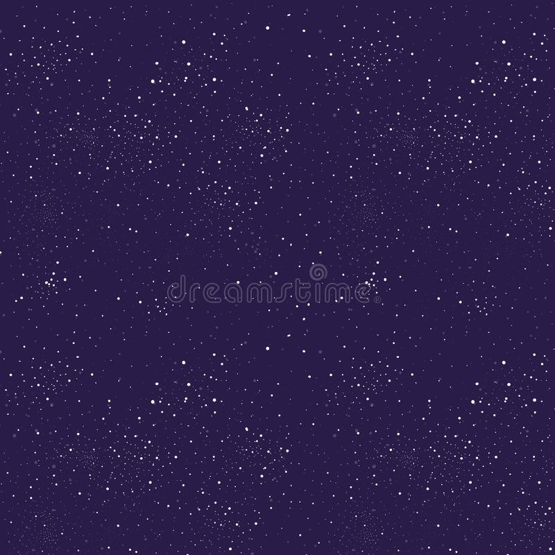Głęboki płaski astronautycznego projekta tło z tekstem Gwiazdy światło na ciemnym purpurowym kolorowym tle Galaxe styl Biały gwia ilustracji
