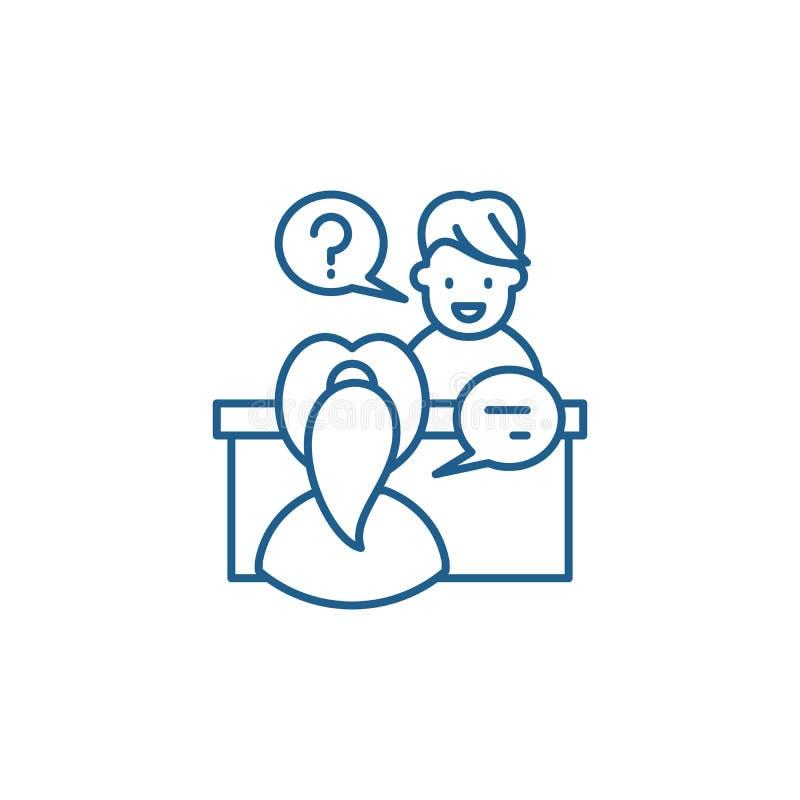 Głęboki wywiad linii ikony pojęcie Głębokiego wywiadu płaski wektorowy symbol, znak, kontur ilustracja ilustracji