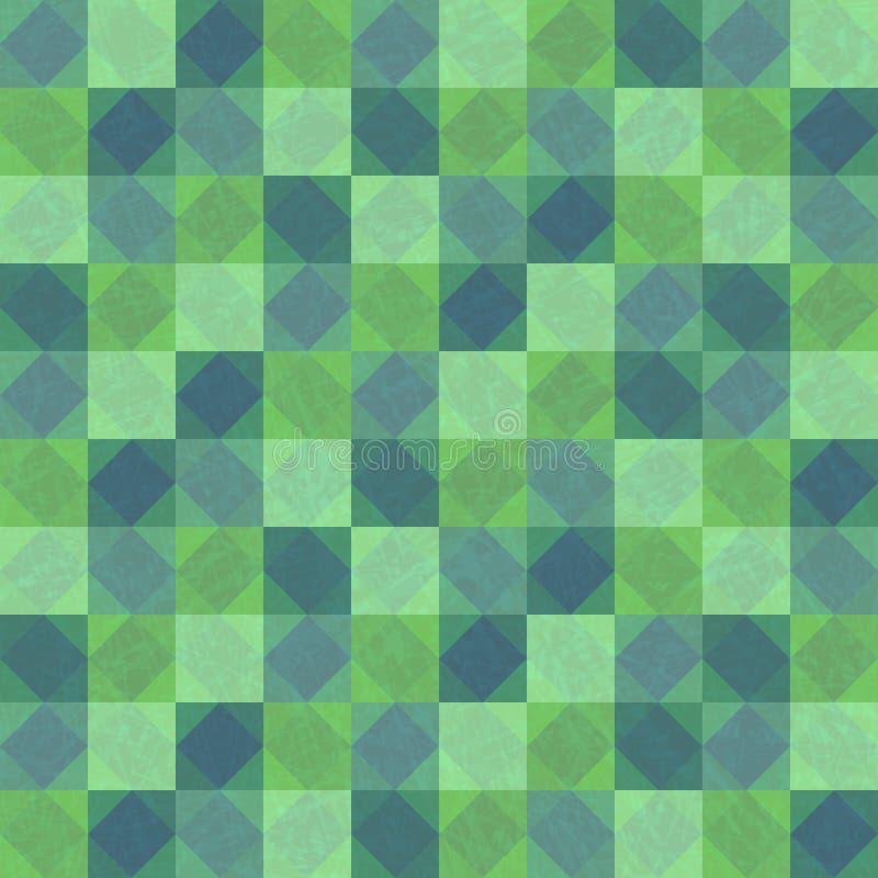 Głęboki - zielonego patchworku bezszwowy tło z kwadratami i rhombuses ilustracji