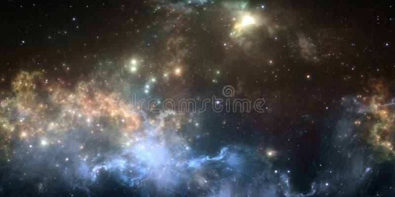 Głębokiej przestrzeni mgławica Gigantyczna międzygwiazdowa chmura z gwiazdami ilustracji