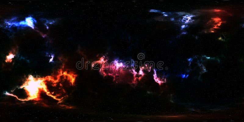 Głębokiej przestrzeni mgławica i gwiazdy 360 stopni panorama zdjęcia stock