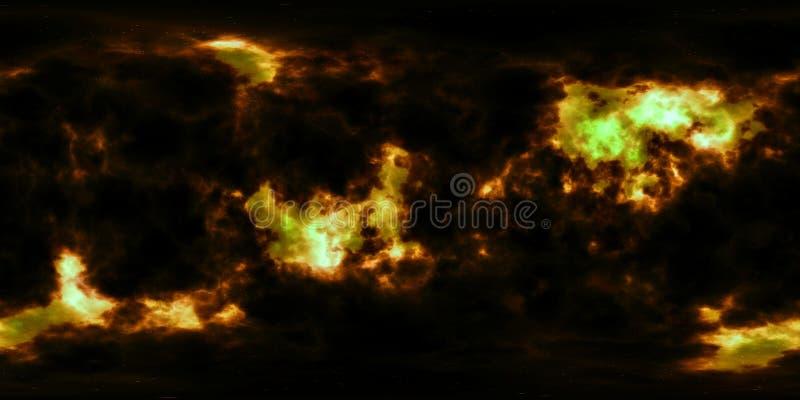 Głębokiej przestrzeni mgławica i gwiazdy 360 stopni panorama zdjęcie stock