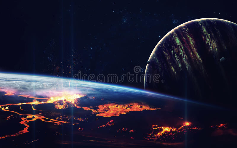 Głębokiej przestrzeni sztuka Wspaniały dla tapety i druku Elementy ten wizerunek meblujący NASA zdjęcia stock