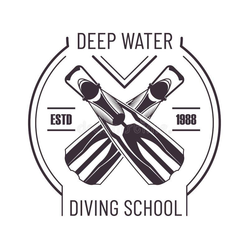Głębokiej wody pikowania szkoły promo odosobniony monochromatyczny logo ilustracji