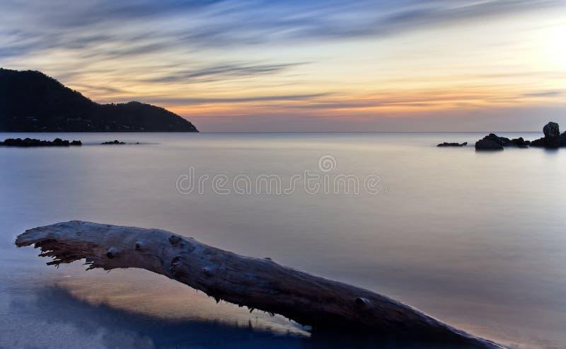 Gładki morze przy wschód słońca, z dramatycznym poruszającym niebem, wzgórzami, skałami i drzewnym bagażnikiem na plaży, portowy  obrazy stock