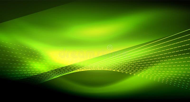 Gładzi lekkiego skutek, linie proste na jarzyć się błyszczącego neonowego ciemnego tło Energetycznej technologii pomysł royalty ilustracja